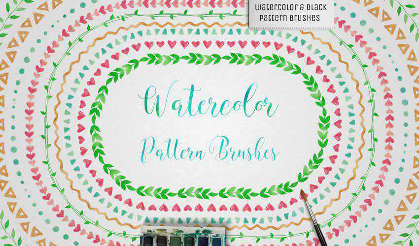 Watercolor Black Pattern adobe illustrator brush brushes abr pack set free
