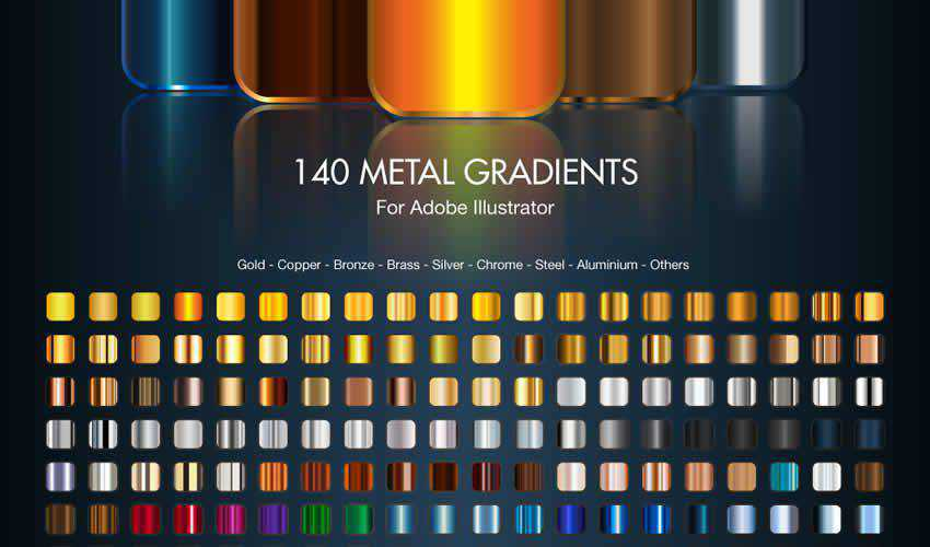 Metal Gradients adobe illustrator brush brushes abr pack set free