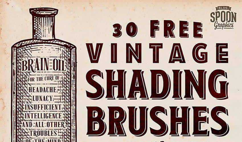 Vintage Shading adobe illustrator brush brushes abr pack set free