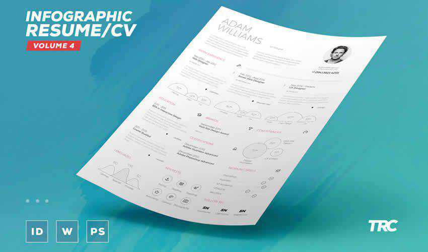 Infographic volume 4 resume cv adobe indesign template free volume 4