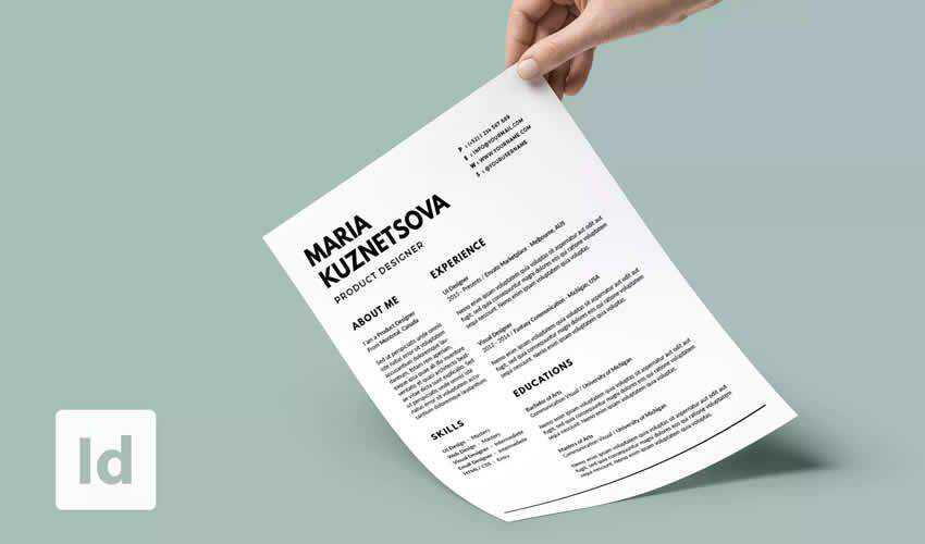 Minimal Resume Cv Adobe Indesign Template Minimalist