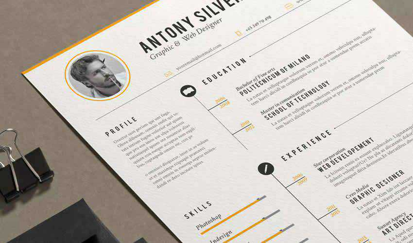 resume cv adobe indesign template vintage