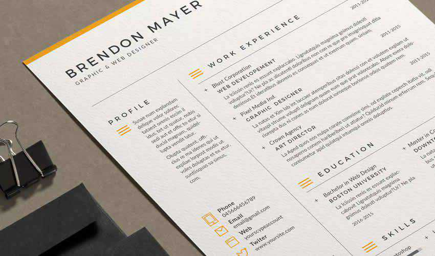 resume cv adobe indesign template brendon cover letter