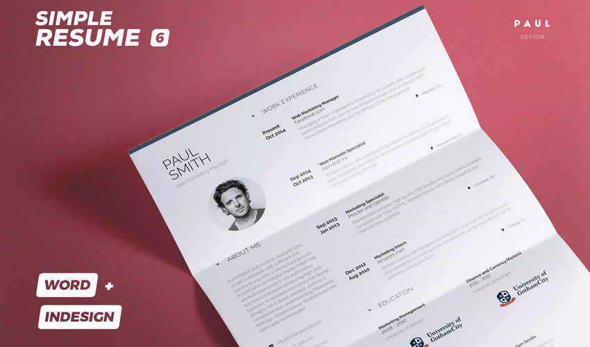 resume cv adobe indesign template simple volume 6