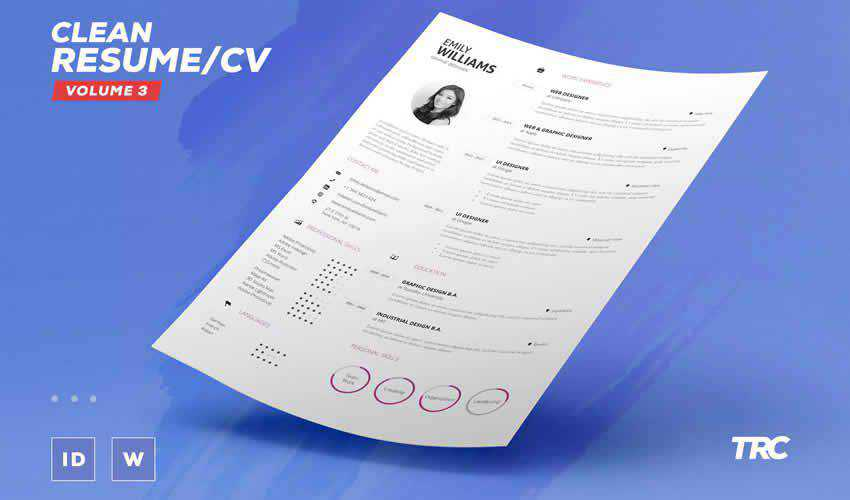 resume cv adobe indesign template volume 3