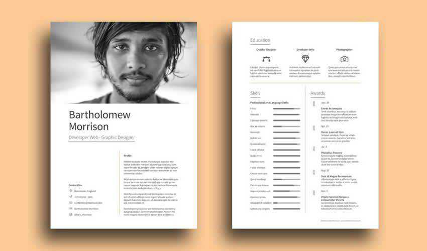 Resume Cv Adobe Indesign Template Free Clean Cover Letter
