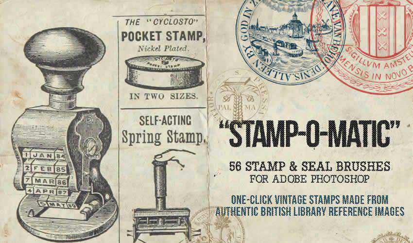 Seal Stamp vintage antique adobe photoshop ps brush brushes abr pack set free