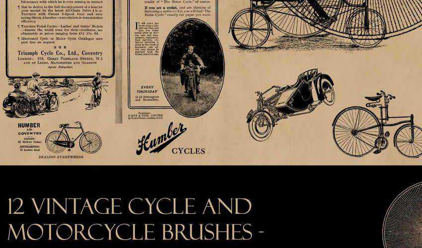 cycle bike transport vintage antique adobe photoshop ps brush brushes abr pack set free