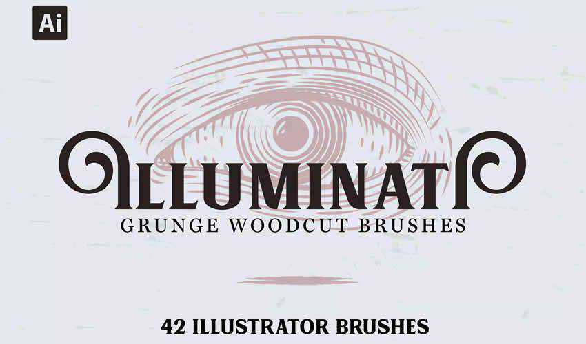 Illuminati Grunge Woodcut vintage antique adobe photoshop ps brush brushes abr pack set