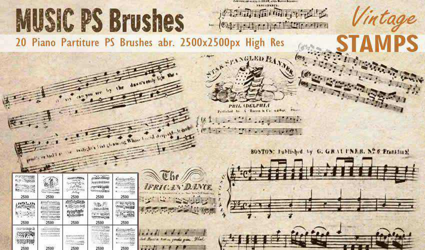 Piano Music Partiture vintage antique adobe photoshop ps brush brushes abr pack set free