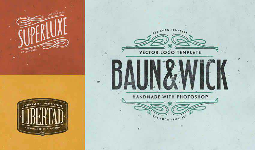 Retro Logo Templates adobe photoshop ps pack set