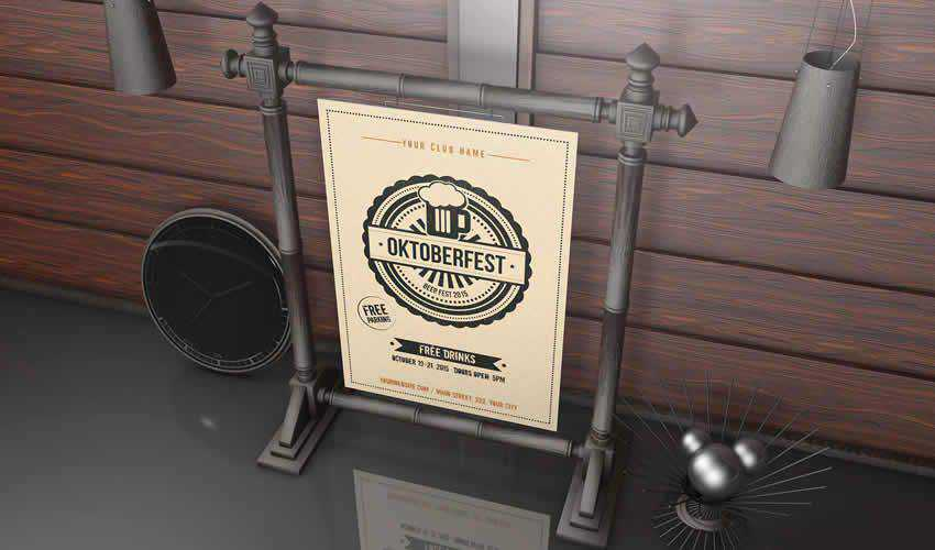 Photorealistic photoshop psd poster mockup template editable flyer