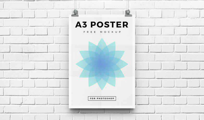 Free A3 psd photoshop poster mockup template editable flyer