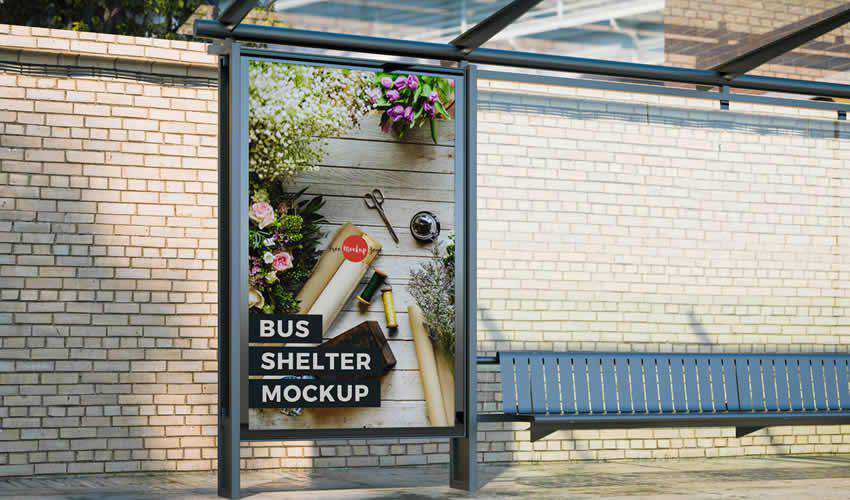 Free Outdoor Bus Shelter psd photoshop poster mockup template editable flyer