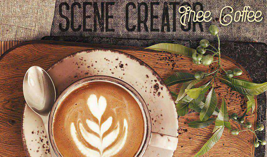 Free Coffee adobe photoshop scene creator mockup template psd