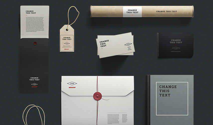 Free Stationery adobe photoshop scene creator mockup template psd