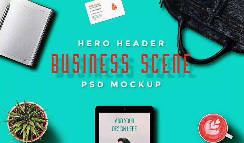 Hero Header Scene free adobe photoshop scene creator mockup template psd