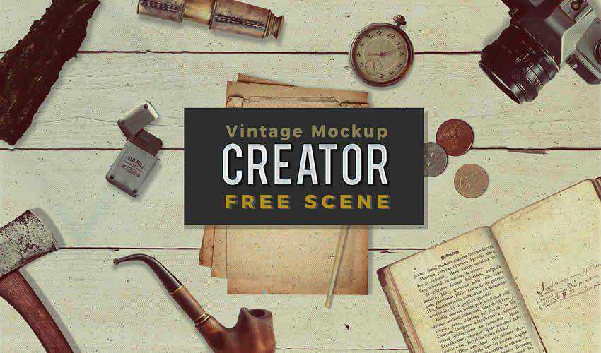 Free Vintage adobe photoshop scene creator mockup template psd
