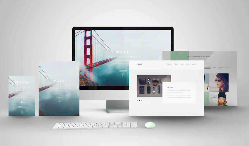 Showcase adobe photoshop scene creator mockup template psd
