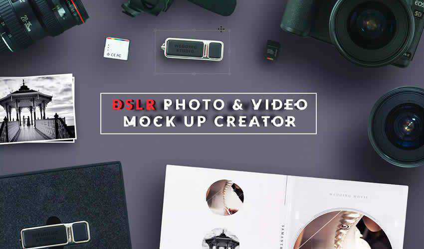 DSLR Photo Video adobe photoshop scene creator mockup template psd