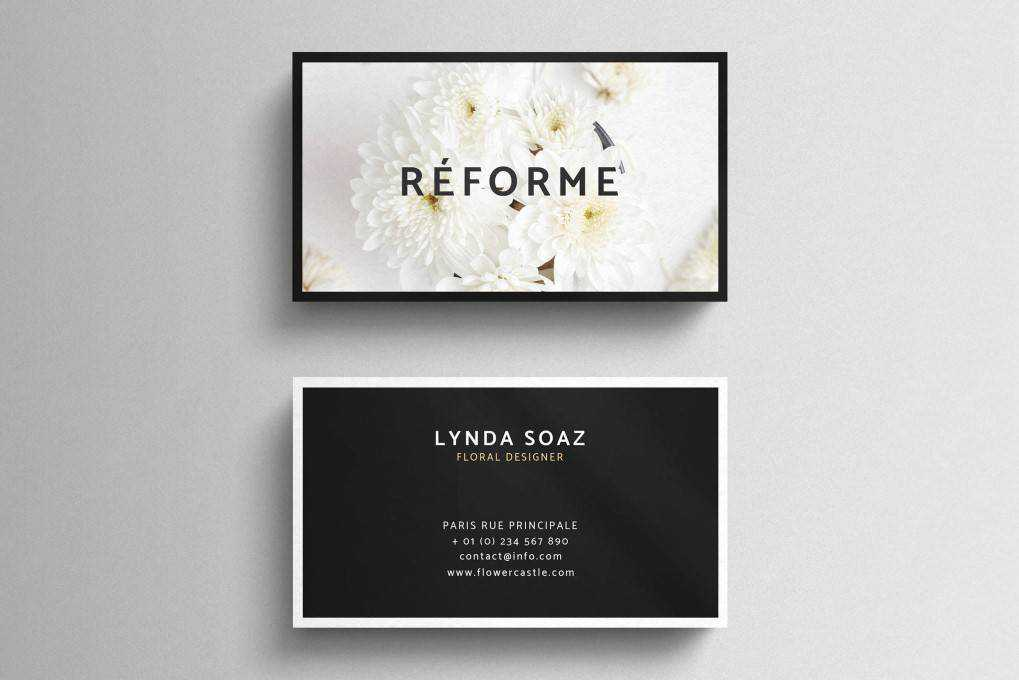 Floral business card template format Adobe Photoshop