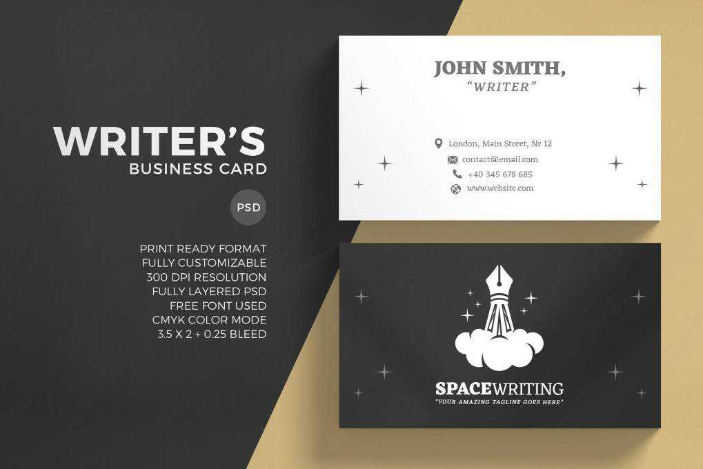 Creative Writer business card template format Adobe Photoshop