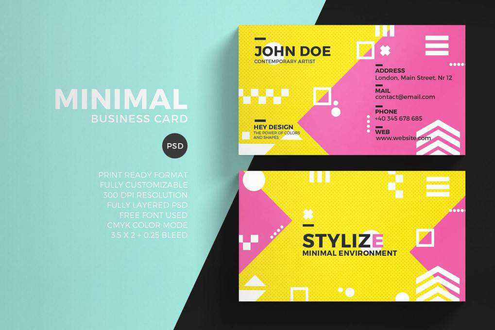 Colorful Minimal business card template format Adobe Photoshop