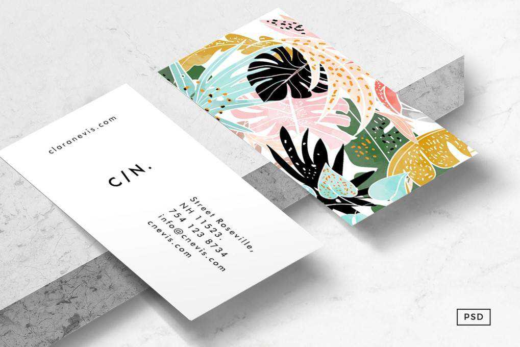 tropical business card template format Adobe Photoshop