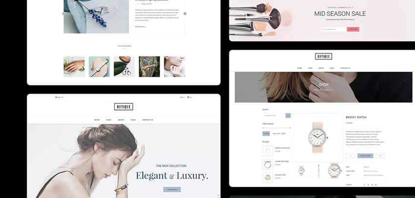 Botique ecommerce shop website retail web design inspiration