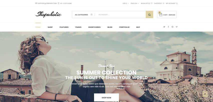 Shopaholic ecommerce shop website retail web design inspiration