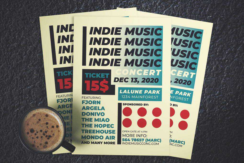 Indie Music Concert flyer template format