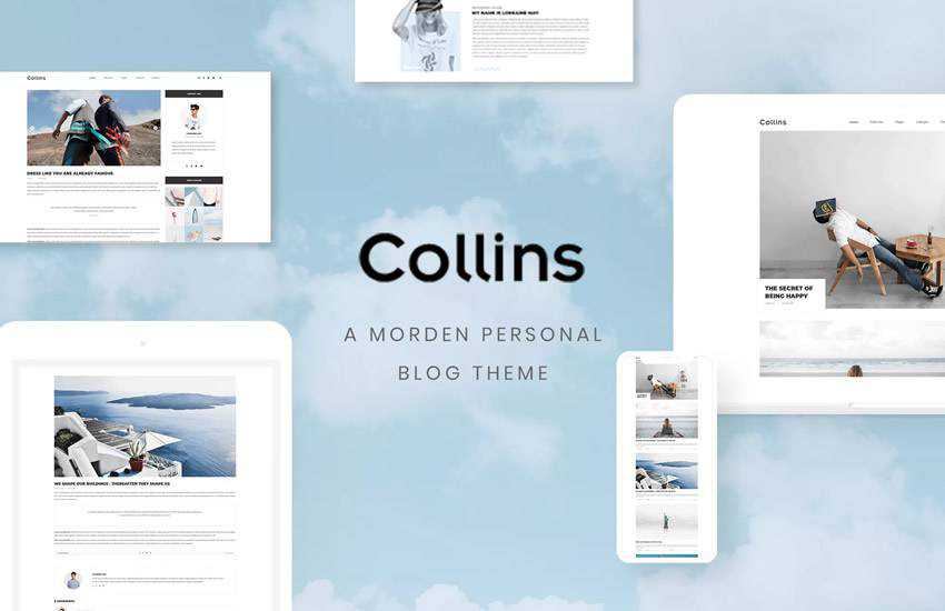 Collins Minimalist Personal Blog web design layout adobe photoshop template free psd format