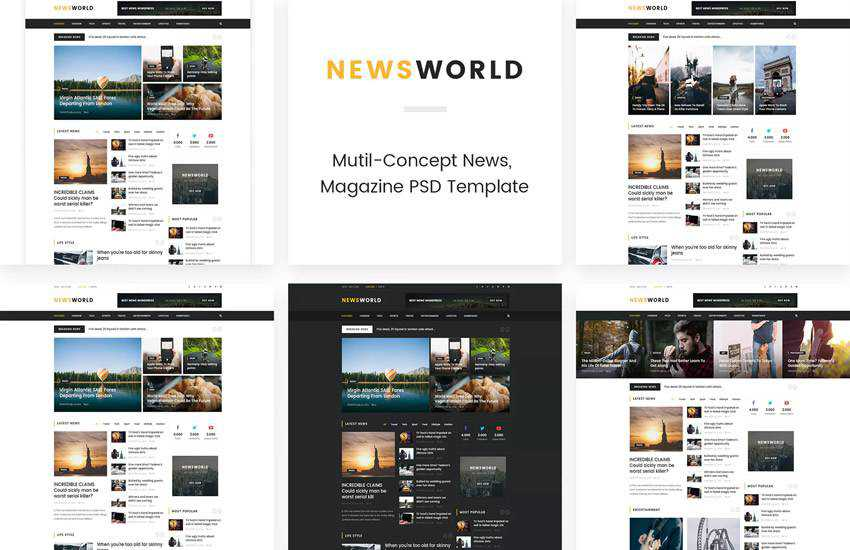 News World Magazine web design layout adobe photoshop template free psd format