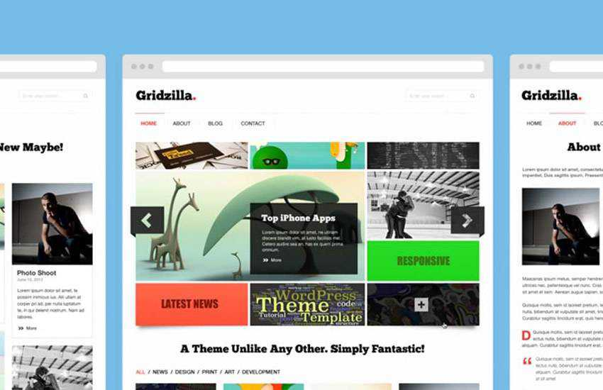 Gridzilla Magazine web design layout adobe photoshop template free psd format