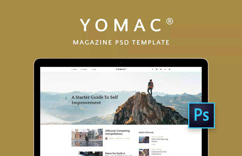 Yomac Magazine Blog web design layout adobe photoshop template free psd format