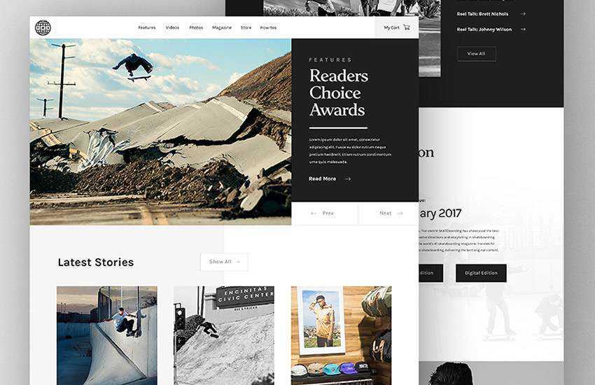Transworld Skateboarding Magazine Blog web design layout adobe photoshop template free psd format