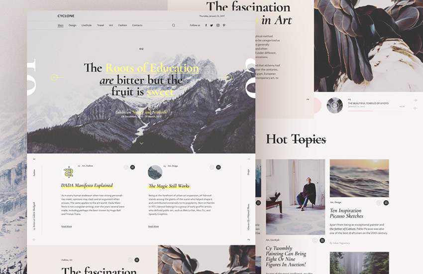 Cyclone Magazine web design layout adobe photoshop template free psd format