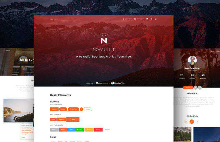 now web boostrap 4 four template ui kit free