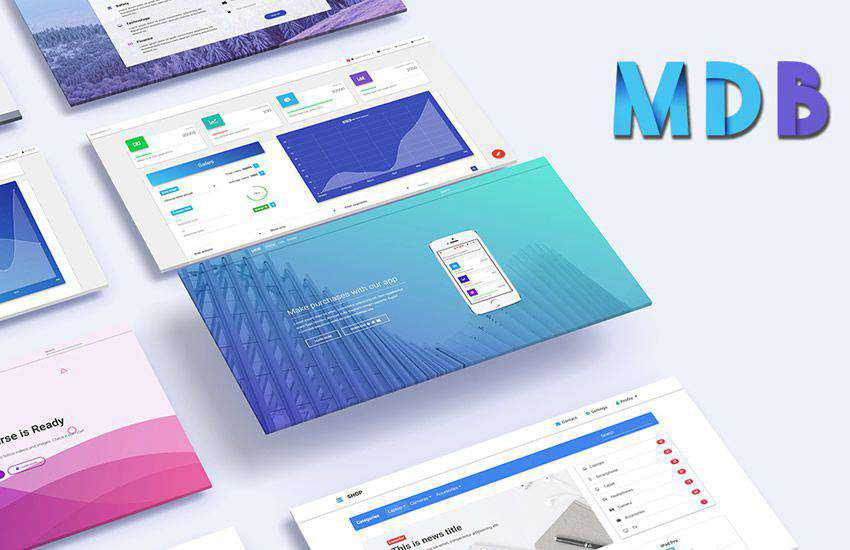 Material Design boostrap 4 four template ui kit free