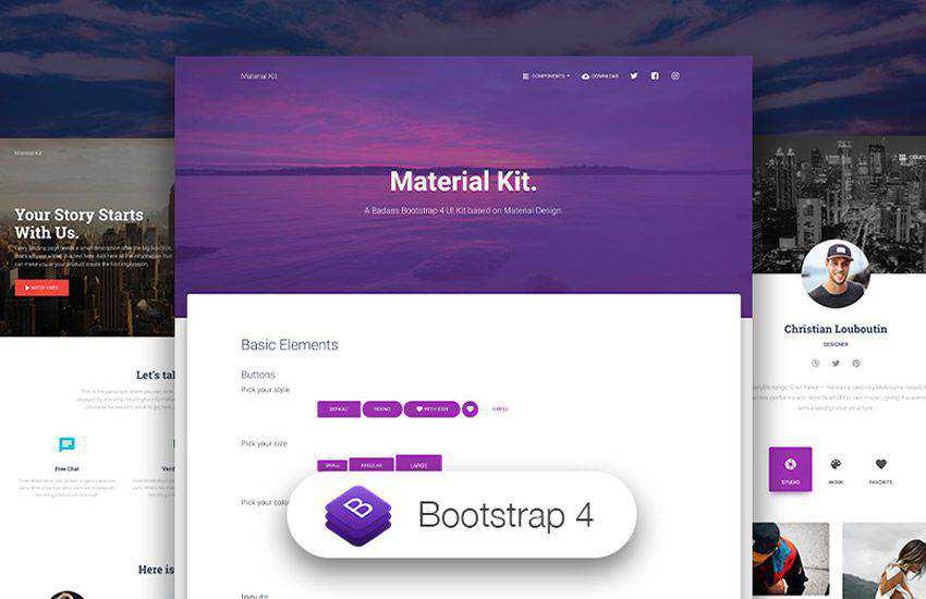 Material Kit design boostrap 4 four template ui kit free