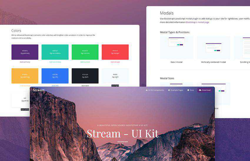 stream boostrap 4 four template ui kit free