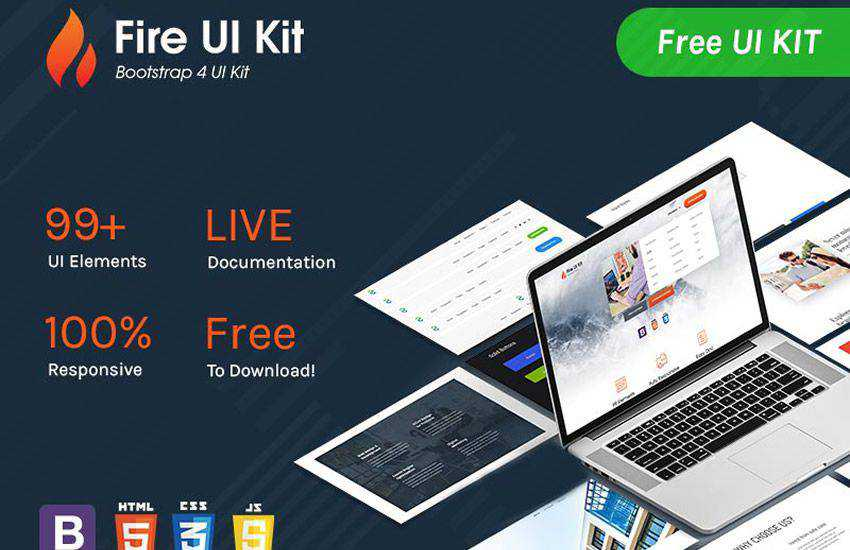 fire boostrap 4 four template ui kit free