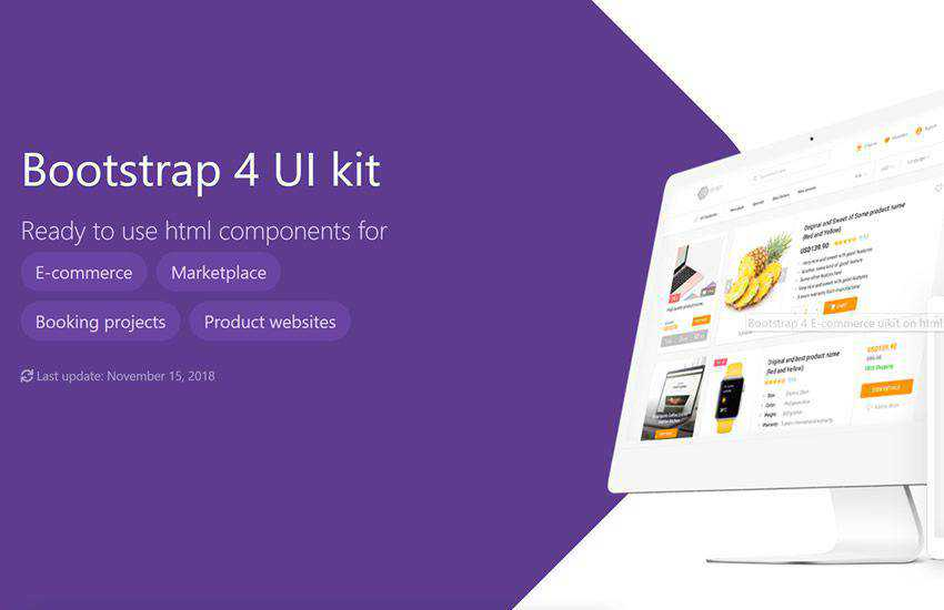 eCommerce shop boostrap 4 four template ui kit free