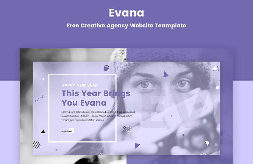 Evana Creative Agency web design layout adobe photoshop template free psd format