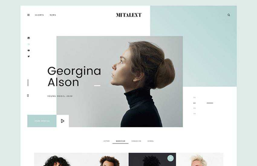 MI Talent Agency  web design layout adobe photoshop template free psd format