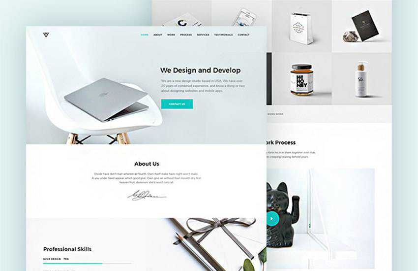 Piroll Agency Portfolio web design layout adobe photoshop template free psd format