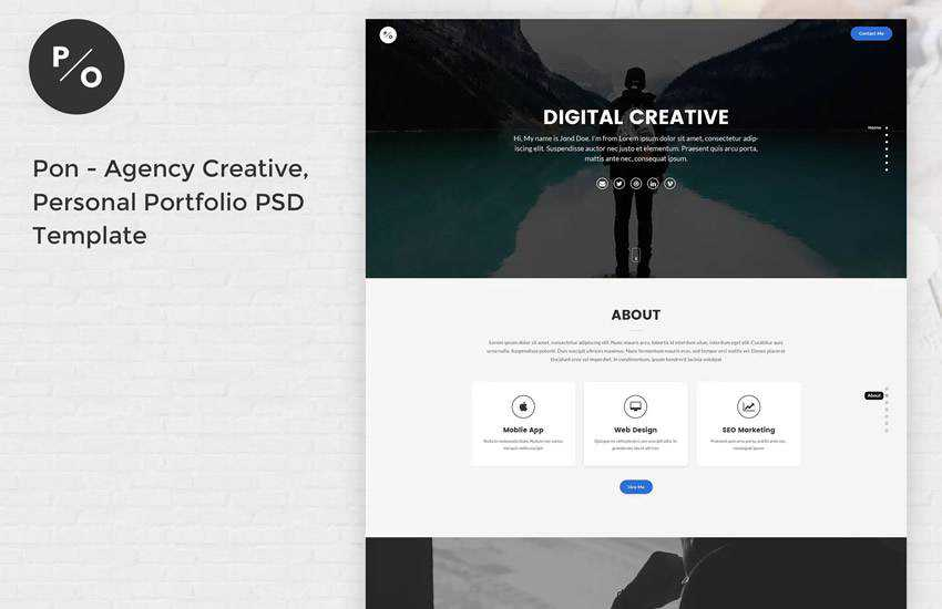 Pon Responsive Agency Portfolio web design layout adobe photoshop template free psd format