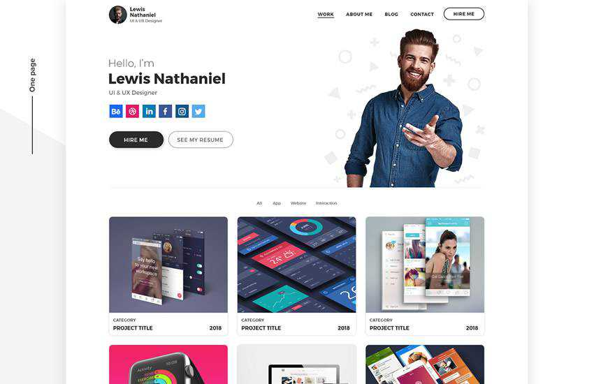 designer portfolio web design layout adobe photoshop template free psd format