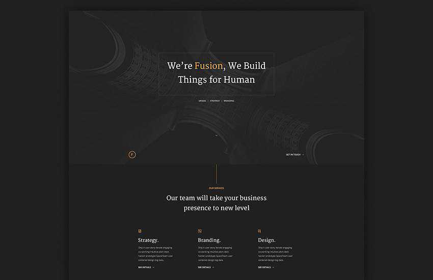 fusion dark portfolio web design layout adobe photoshop template free psd format