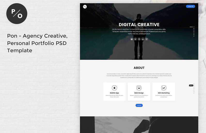 Pon Responsive Portfolio web design layout adobe photoshop template free psd format